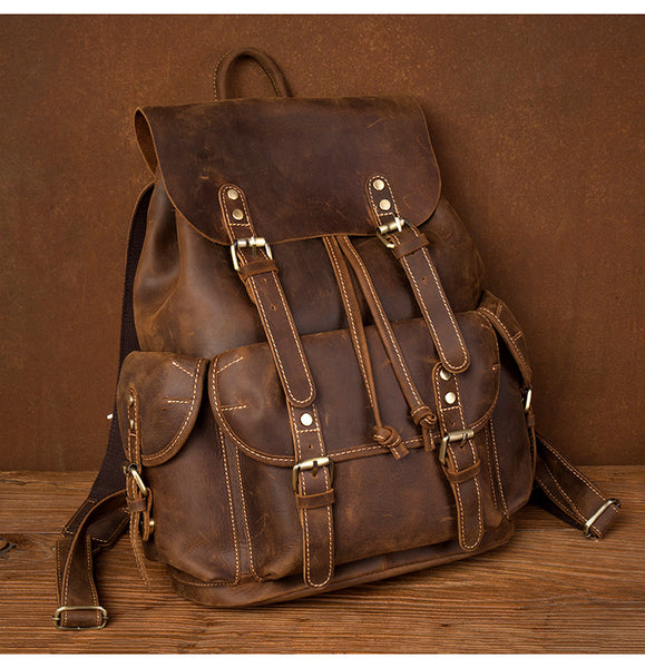 Xmas Gift, Leather Backpack, Brown Leather Travel Backpack, School Backpack,Handmade  MS216 - Leajanebag
