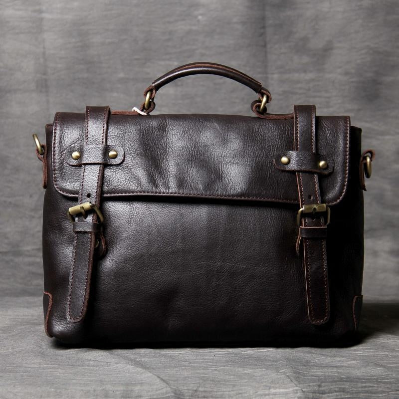 Leather Briefcase, 100% Full Grain Leather, Laptop Business Bag OAK-064 - Leajanebag