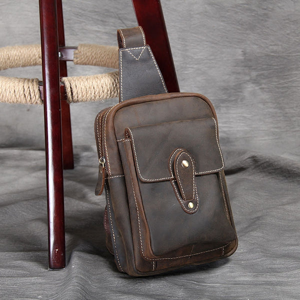 New Leather Chest Crossbody Bag,Men's Shoulder Bag,Leather Chest Bag,Gifts For Mens OAK-053 - Leajanebag