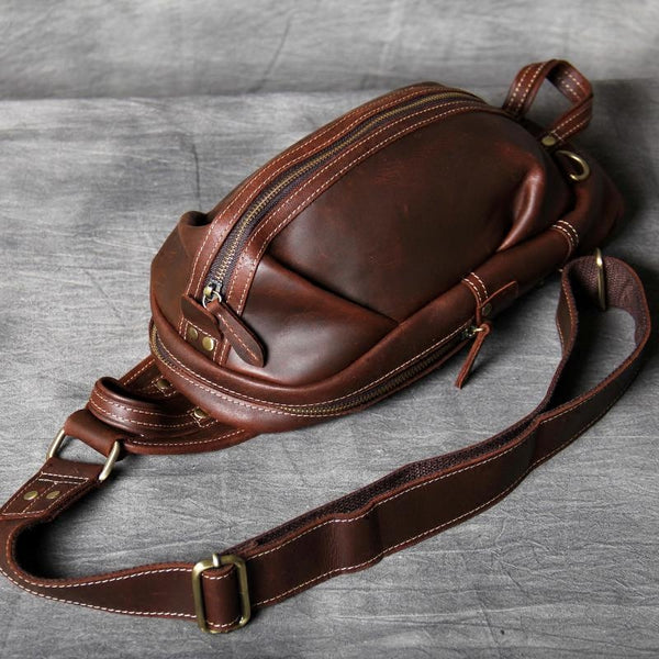 Leather Shoulder Bags, Brown Mens Bag,Chest Crossbody Bag, Leather Chest bag OAK-016 - Leajanebag
