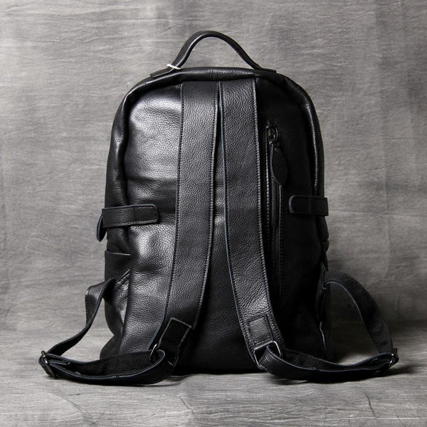 Leather Backpack, Black Backpack, Office Backpack, Handmade Travel Backpack OAK-057 - Leajanebag