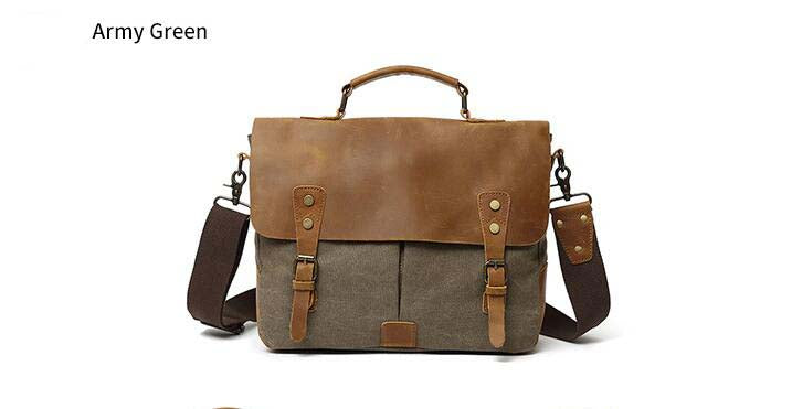 Leather Canvas Messenger Bag, Leather Canvas Messenger Bag, Shoulder Bag 1807 - Leajanebag