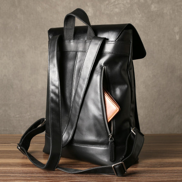 Black Leather Travel Backpack, School Backpack,Handmade GZ065 - Leajanebag