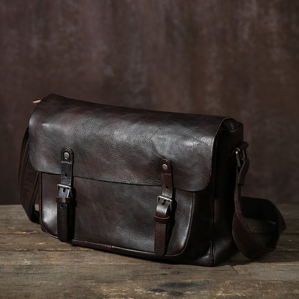 Crossbody Leather Messenger Bag, Mens Leather Messenger Bag GLT044 - Leajanebag