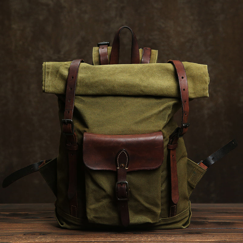Extra Larger Backpack, Canvas Leather Backpack,Travel Backpack, Laptop Backpack GLT110 - Leajanebag