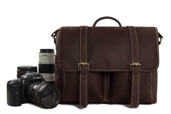 Vintage Genuine Leather DSLR Camera Bag SLR Camera Bag Leather Camera Bag DZ10 - Leajanebag