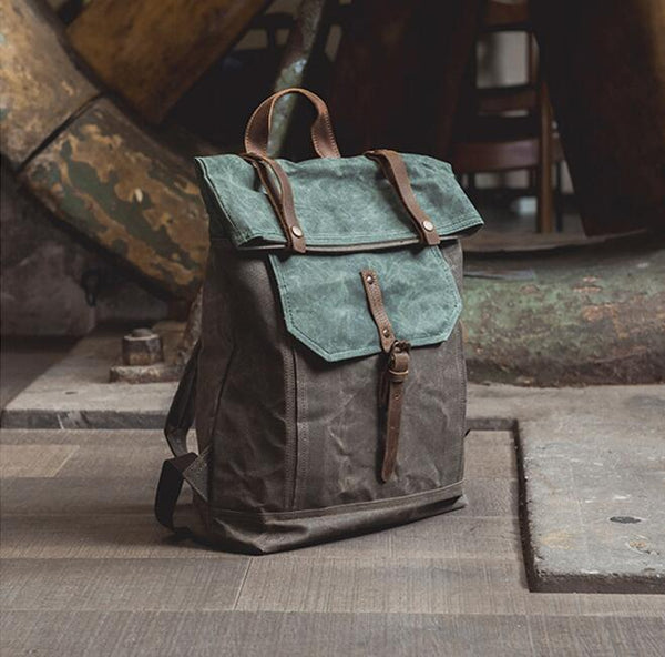 Handmade Canvas Backpack, Travel Backpack, School Backpack NX007 - Leajanebag