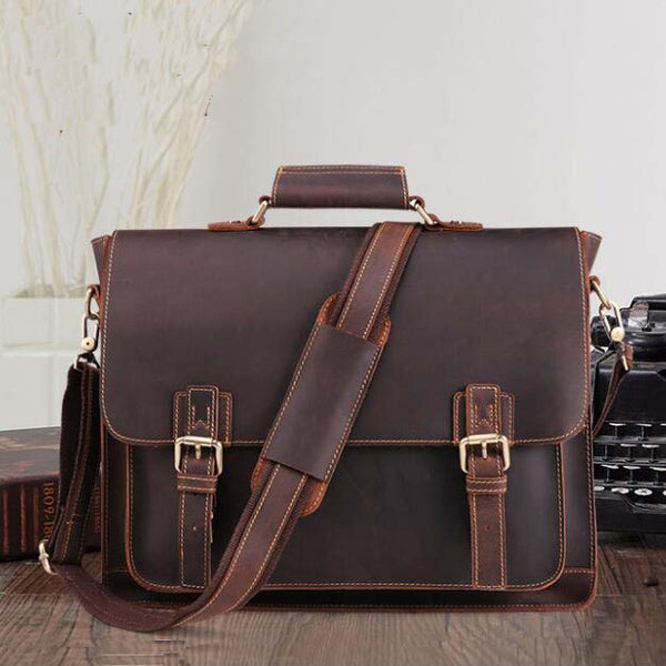 Handmade Distressed Buffalo Leather Briefcase, Messenger Bag, Leather Satchel,15 inches  Laptop Bag QY002