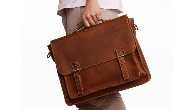Handmade Distressed Buffalo Leather Briefcase, Messenger Bag, Leather Satchel,15 inches  Laptop Bag QY002 - Leajanebag