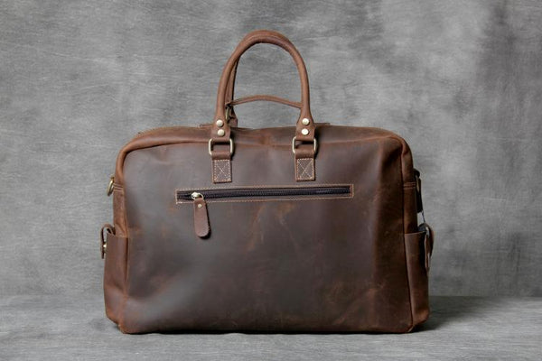 Handmade Duffle Bag, Leather Travel Bag, Weekender Bag OAK-067 - Leajanebag
