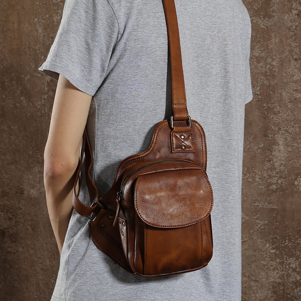 Handmade Genuine Leather Chest Bag, Men's Chest Bag GLT017 - Leajanebag
