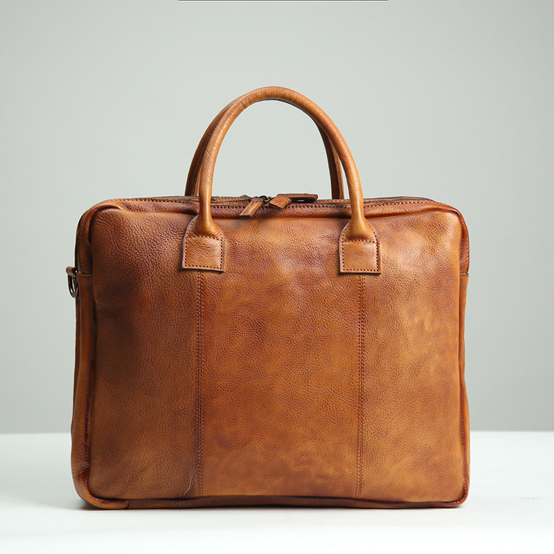 Handmade Leather Briefcase Men, Laptop Briefcase, 14'' Laptop Bag GLT104 - Leajanebag