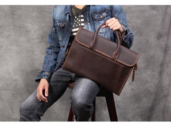 Handmade Leather Briefcase, Men Laptop Briefcase, Crossbody Bag OAK-076 - Leajanebag