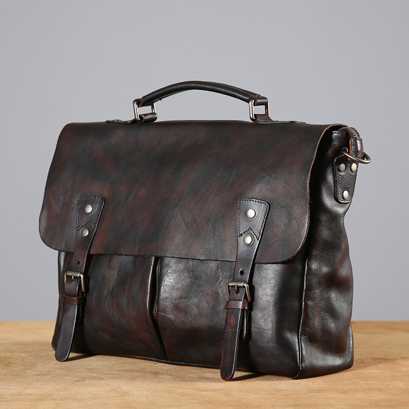 Handmade Leather Business Bag, Genuine Leather Laptop Bag GLT055 - Leajanebag