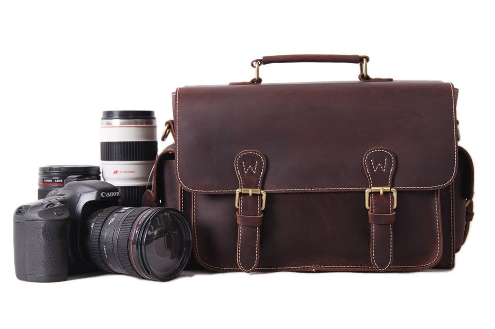 Vintage Genuine Leather Camera Bag, Handmade DSLR Case 6919 - Leajanebag