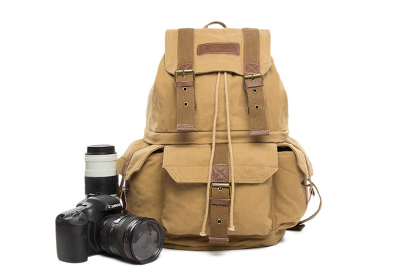 Fashion Canvas DSLR Camera Backpack Bag Professional Camera Bag for Canon Nikon Olympus FB-1235 - Leajanebag