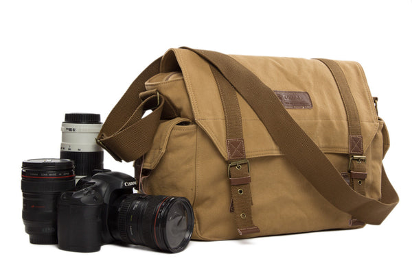 Leather Canvas DSLR Camera Bag, Leather Canvas Shoulder Bag F1001 - Leajanebag