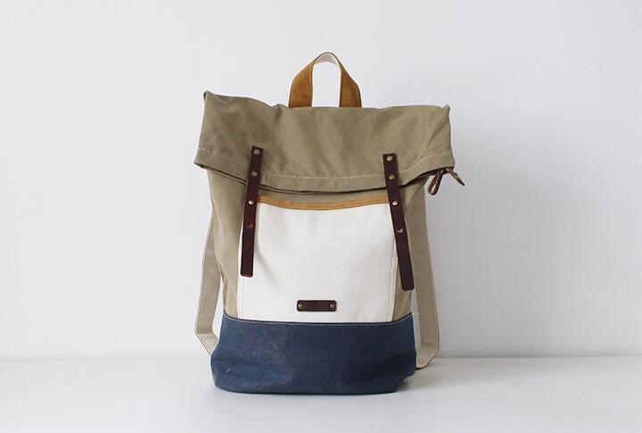 Leather Backpack Waxed Canvas Rucksack Roll Up Top Laptop