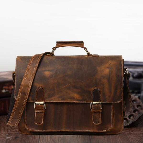 Leather Briefcase,Brown Leather Briefcase, Mens Leather Briefcase, Laptop Bag, Leather bag, Mens Briefcase, Floto Ponza QY023 - Leajanebag