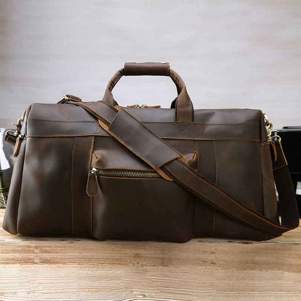 Leather Duffle Bag, Genuine Leather Travel Bag,Handmade Weekend Bag, Luggage Bag  WT001 - Leajanebag