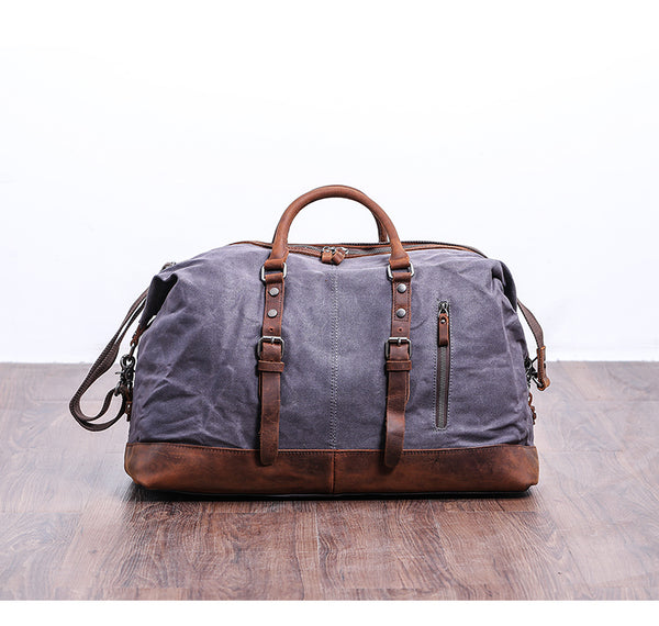 Handmade Distressed Leather Water Proof Waxed Canvas Duffel Bag Weekend Bag Overnight Bag Holdall Luggage Bag Travel Bag Carryon Duffle Bag  OT001