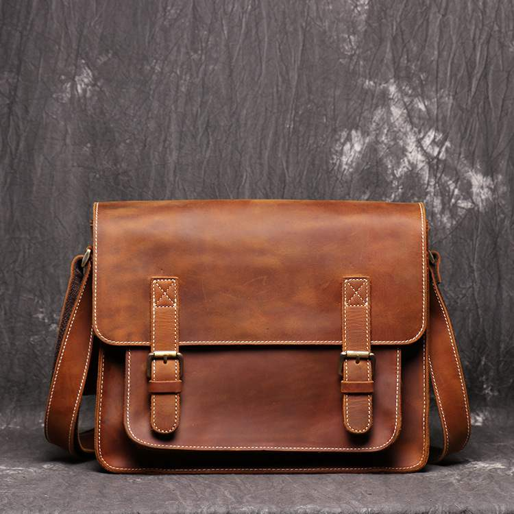 Handmade Leather Crossbody Bag, Genuine Leather Briefcase,Leather Messenger Bag GZ006