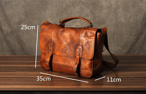 Handmade Genuine Leather Shoulder Bag, Leather Briefcase GZ001 - Leajanebag