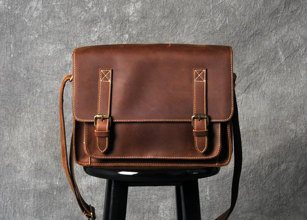 Handmade Leather Crossbody Bag, Genuine Leather Briefcase,Leather Messenger Bag GZ006 - Leajanebag