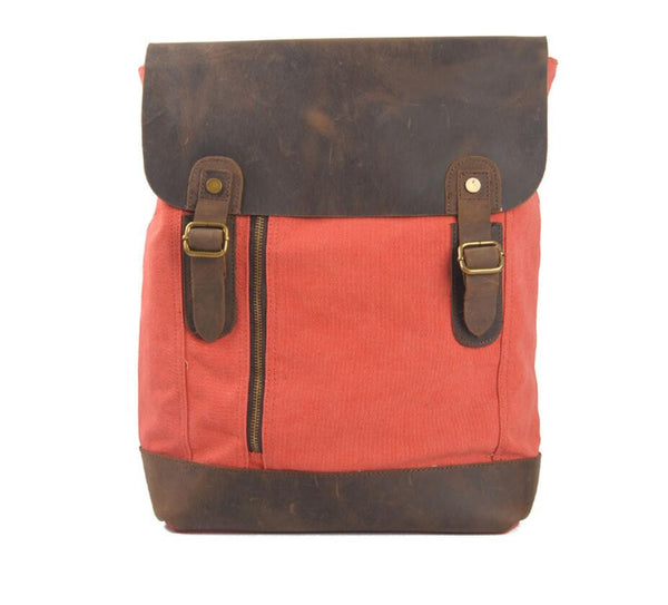 Leather Canvas Backpack, Handmade Canvas Backpack,School Backpack MSL002 - Leajanebag