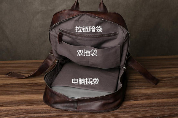 Handmade Leather Backpack, Laptop Backpack,  Daily carry Backpack, School Backpack GZ034 - Leajanebag