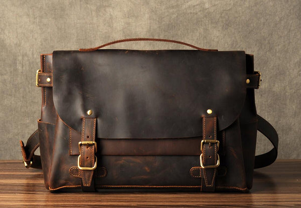 Leather Briefcase Men, Brown Leather Messenger Bag, Men's Briefcase, Laptop Briefcase 7369 - Leajanebag