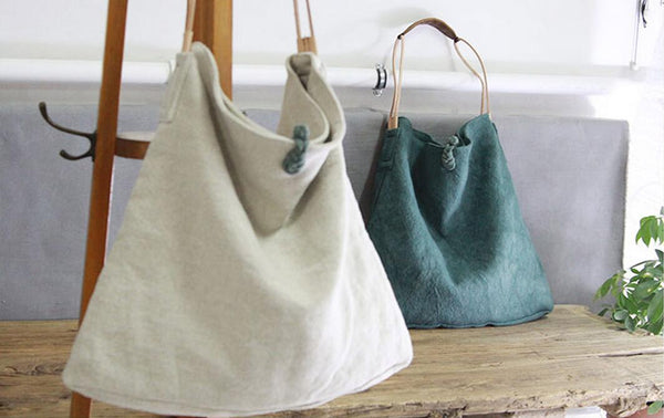 Leather Canvas Bags, Canvas and Genuine Leather Shoulder Bag YY004 - Leajanebag