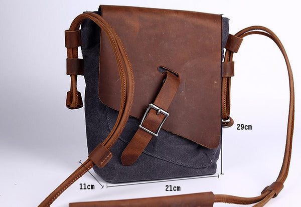 Leather Canvas Bag,Leather Crossbody Bag,Canvas Crossbody Bag, Gray Bag JC002 - Leajanebag