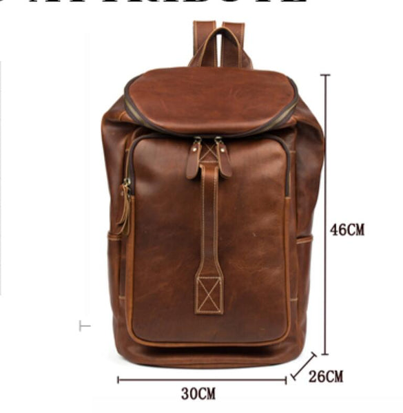 Mauve Leather Backpack, Fashion Backpack in Italian Genuine Leather MS058 - Leajanebag