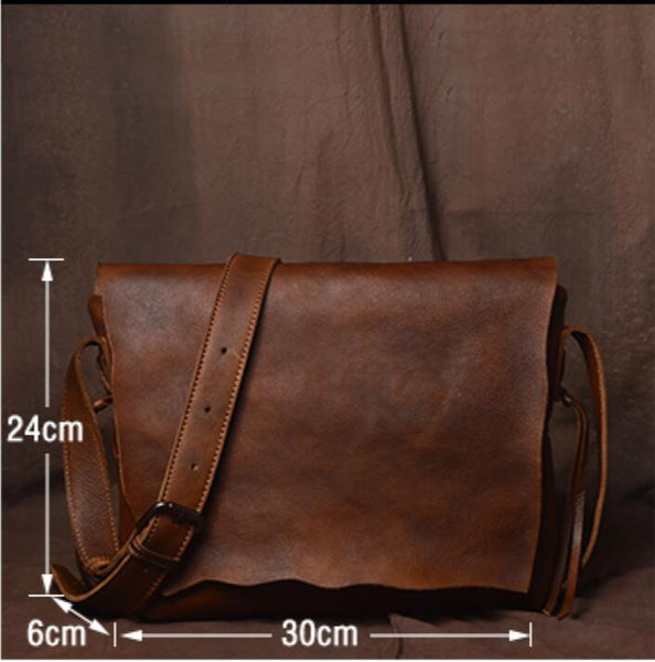 Handmade Leather Handbag Satchel Tan Portfolio Messenger Real Leather Saddle Bag Tablet JZ003 - Leajanebag