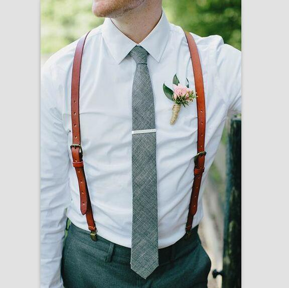 Wedding Suspenders,Reddish Brown Leather Suspenders, Mens Dress Suspenders 0194 - Leajanebag