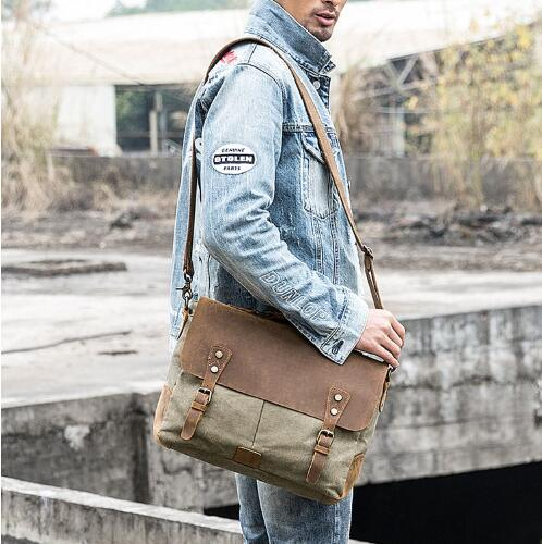 Leather Canvas Messenger Bag, Leather Canvas Messenger Bag, Shoulder Bag HB001 - Leajanebag