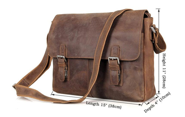 Handmade Genuine Leather Messenger Bag, Leather Laptop Bag, Business Bag 6002LR - Leajanebag