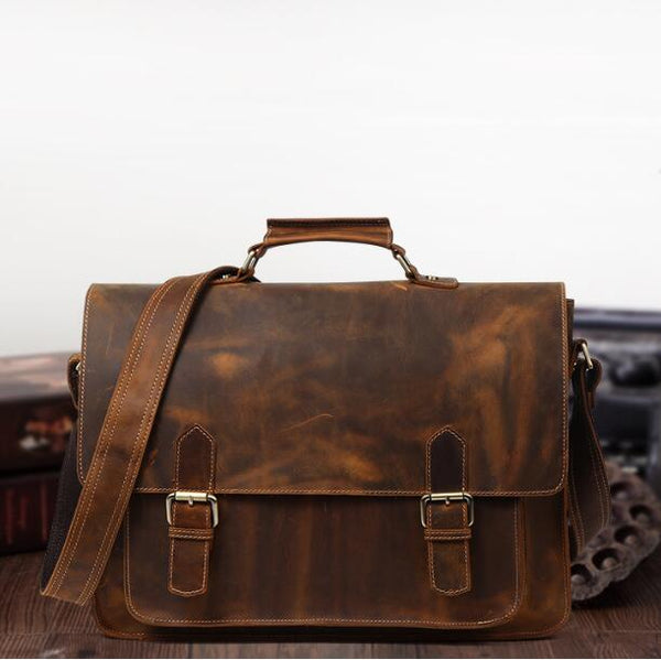 Xmas Gift, Full Grain Leather Briefcase, Handmade Leather Business Bag, Laptop Bag,Men's Bag QT004