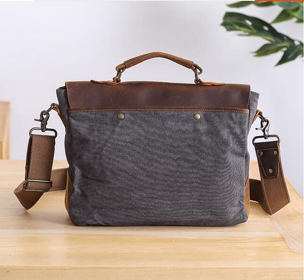 "Mens Messenger Bag, Waterproof Canvas Leather Briefcase, Vintage Handbags, Large Satchel Shoulder Bag, 14"" Computer Laptop Briefcase JC082 - Leajanebag"