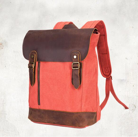 Leather Canvas Backpack, Handmade Canvas Backpack,School Backpack MSL002