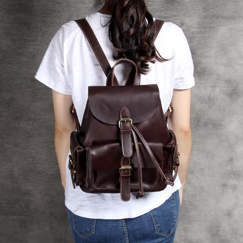 Leather backpack for Women, Full Grain Leather Backpack OAK067 - Leajanebag