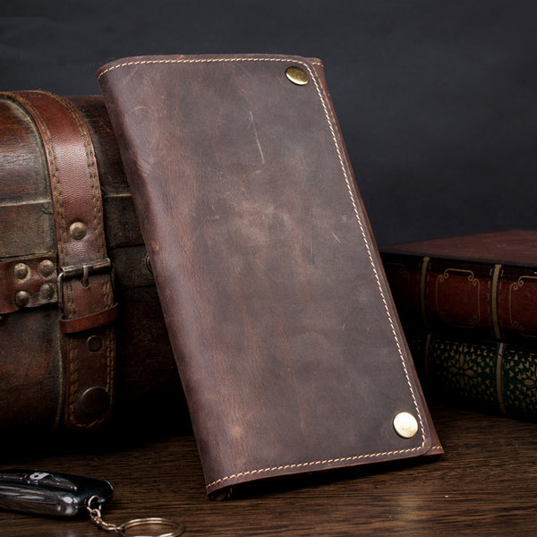 Handmade Leather Money Wallet, Long Wallet, iPhone Leather Clutch MS101 - Leajanebag