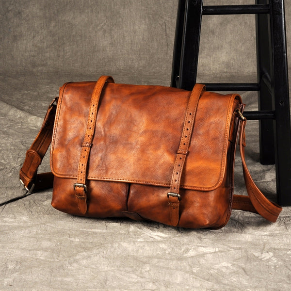 Leather laptop bag, leather satchel bag, Leather Crossbody Bag GZ049 - Leajanebag