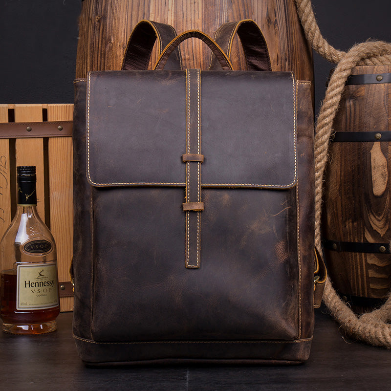 LEATHER BACKPACK - Handmade Leather Backpack from Full Grain Leather MS060 - Leajanebag
