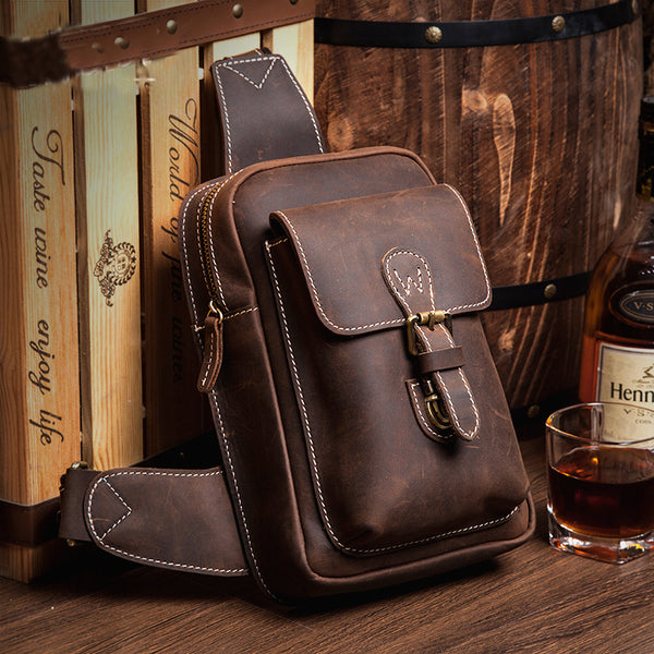 First Layer Genuine Leather Chest Bag, Men's Chest Bag,Handmade Bag MS007 - Leajanebag