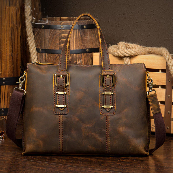 Leather Briefcase, Men's Messenger, Leather Laptop Briefcase MS119 - Leajanebag