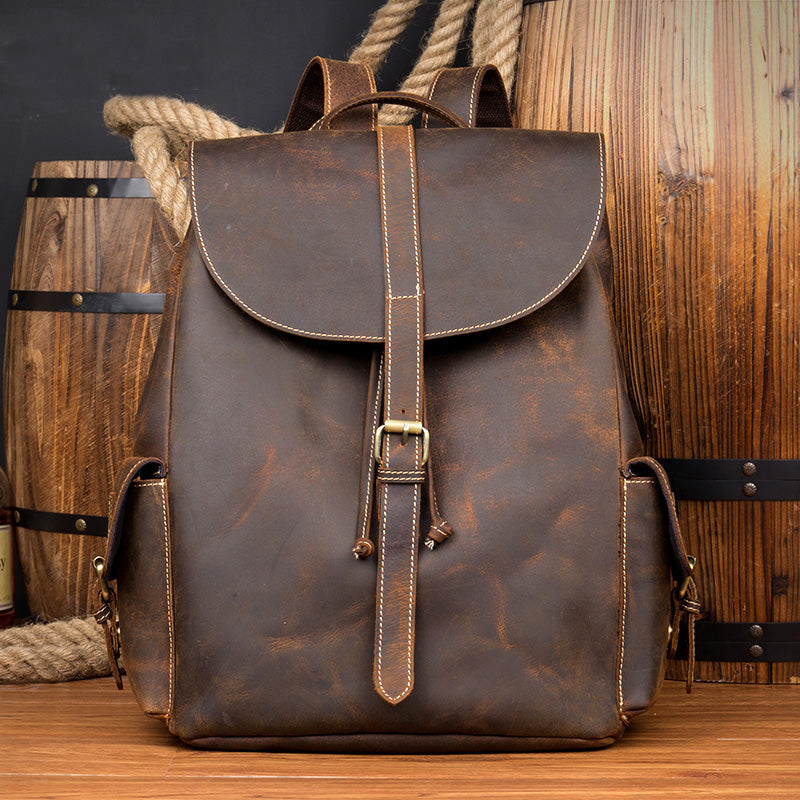 Genuine Leather Backpack,Backpack Bag, Brown Leather Backpack, Extra Larger Travel Backpack MS016 - Leajanebag