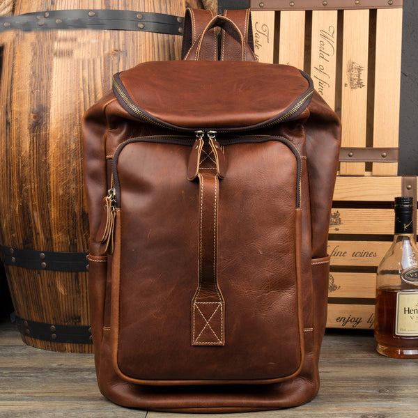 Leather Backpack for Traveling, Fashion Backpack in Italian Genuine Leather,Handmade Backpack MS058 - Leajanebag