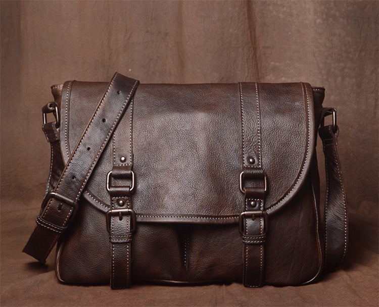 Classic Mens Leather Bag, Handmade Leather Briefcase, Business Bag 9042 - Leajanebag